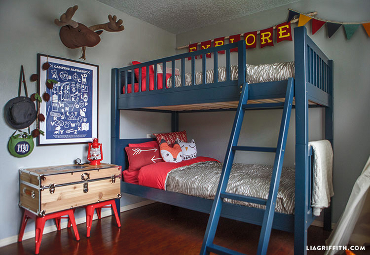 Camping bedroom decor lia griffith for Boys themed bedroom ideas
