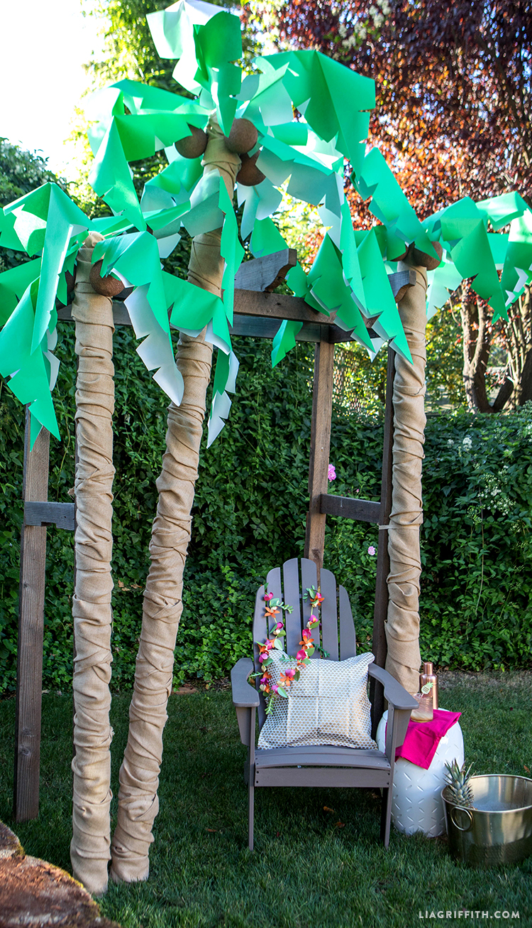 Diy palm tree party decor lia griffith for Homemade tree decorations