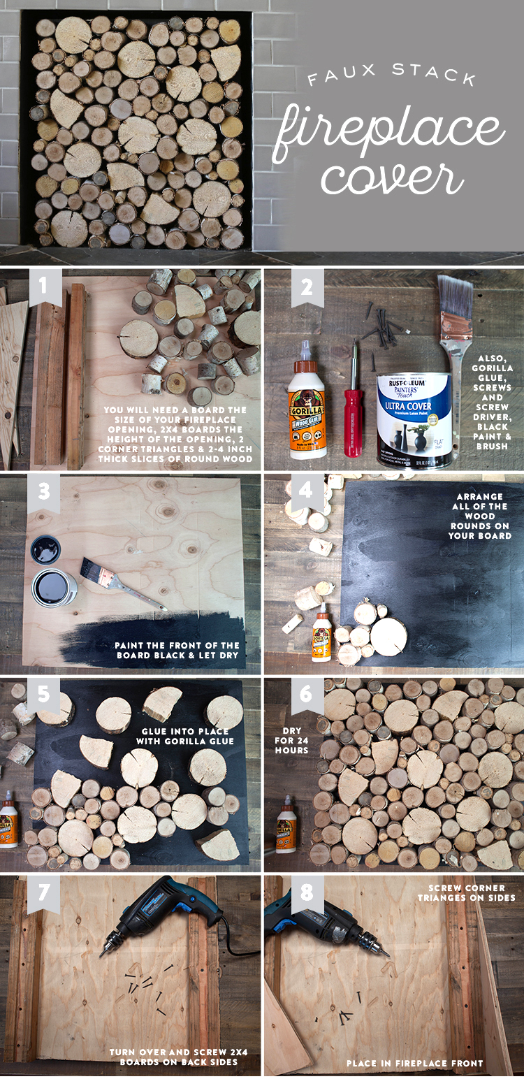 lia griffith diy birch wood fireplace cover