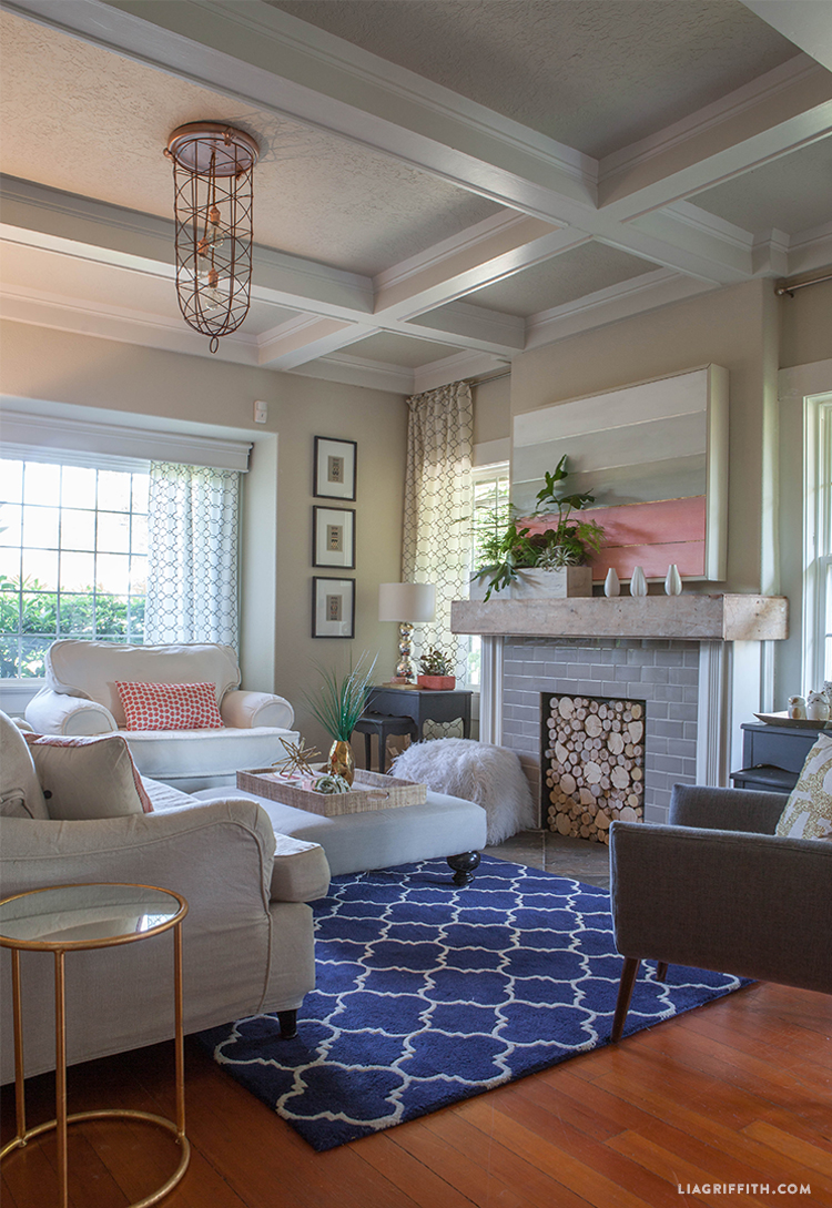 Coral living room update for summer lia griffith for Living room updates