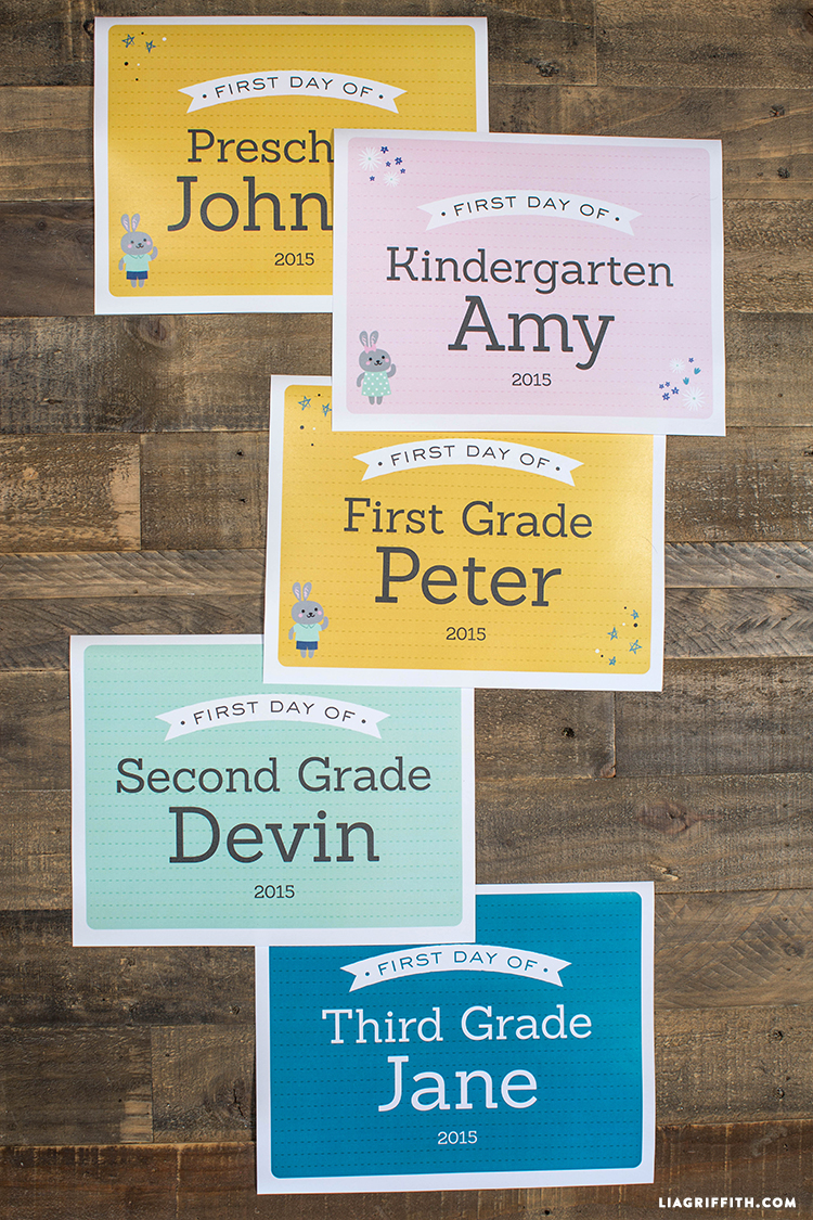 First Day Of School Signs - Lia Griffith