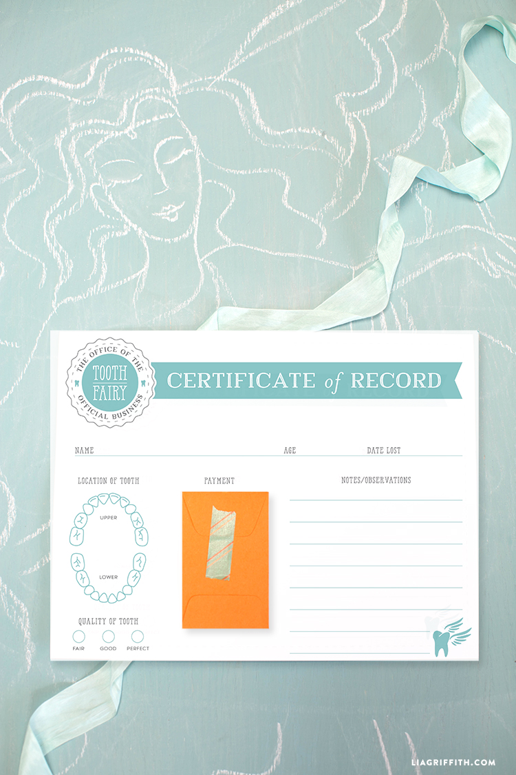 Printable Tooth Fairy Certificate - Lia Griffith